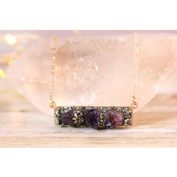 Raw Amethyst February Birthstone Gemstone Necklace