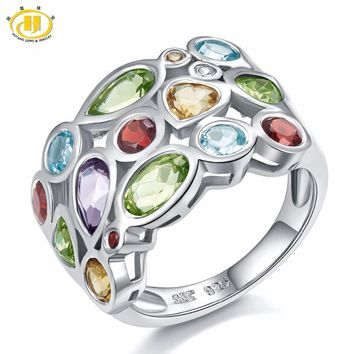 Hutang Genuine Multi-color Gemstones Solid 925 Sterling Silver Cluster Ring For Womens Jewelry Gift