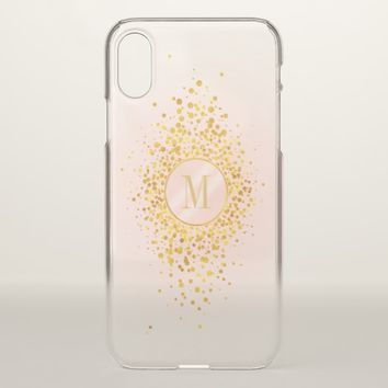 Confetti Monogram Rose Gold Foil ID445 iPhone X Case