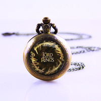 The Lord of Rings Necklace ,Vintage Watch Necklace, Lord Of Rings ,Brass Watch Pendant , Lady Watch Necklace dome pendant necklace