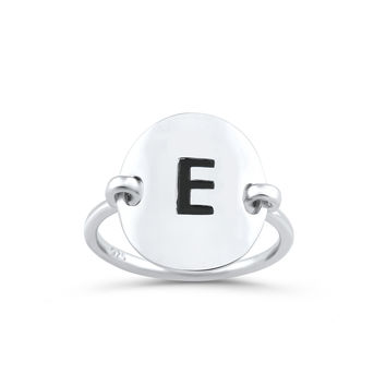 Sterling Silver Oval Initial E Ring