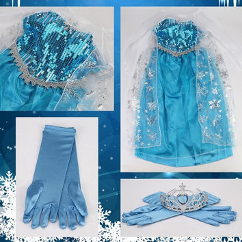 TKOOFN TOP DESIGN Kids Girls Elsa Frozen Queen Dress Costume Princess Anna PartyTull Cosplay +Crown +Gloves = 1946724356