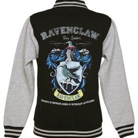 Harry Potter Ravenclaw Team Quidditch Ladies Varsity Jacket, Black/Charcoal (Medium)