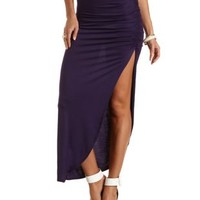 Ruched Side Slit Maxi Skirt by Charlotte Russe