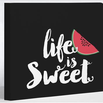 Life Is Sweet Watermelon- Black Canvas Wall Decor by Pen & Paint
