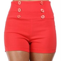 SALE-Coral High Waisted Button Shorts