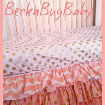 CLEARANCE Ready to Ship Metallic Gold & White Quarter Dot Fitted Crib Sheet by Becka Bug Baby on Etsy
