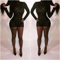 Black Long Sleeve Geo Print Sequined Bodycon Romper