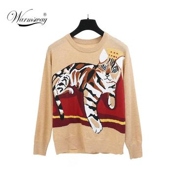 New Fashion Women Cat Jacquard Soft Sweater Loose Cute Wool Warm Long Sleeve Pullover Vintage Autumn Winter Cloth