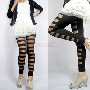 Women Sexy Torn Stretch Stripe 2014 Legging Bandage Tights Pants Sock Trousers  6134 One size (Color: Black) = 1745580228
