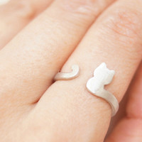 Sterling silver ring,cute cat silver ring,brushed silver cat adjustable ring