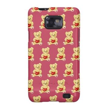 Cute Teddy Bear Hypnotist Pattern Pink Samsung Galaxy S2 Cases