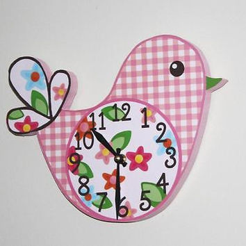 Kids Wall Clock Pretty Little Birdie Girls Bedroom Nursery Wall Clock WC0001