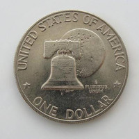 1976 Eisenhower Bicentennial Dollar Liberty Bell Superimposed In Front Of The Moon