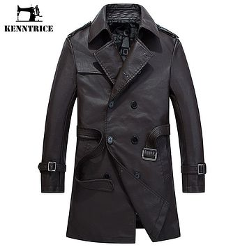 Winter Leather Coat Long Jacket Men Motorcycle Leather Jackets Casual PU Trench Coat Men's Faux Leather Overcoats