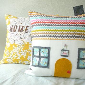 64 Sunny Day Ln - House Pillow Cover - Decorative Pillow