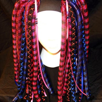 Cyber Falls - Pink and Blue Striped - Cyberlox Blacklight reactive UV glow dread twist