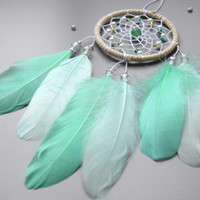 Mint White Dream Catcher, Small Dream Catcher For Car, Car Accessory, Rear View Mirror Charm, Gift For Men Girls Women