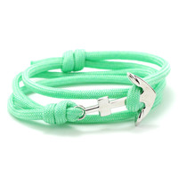 The Silver Anchor Bracelet in Mint
