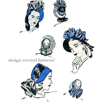 1940s HAT PATTERN Womens Bonnet Millinery Brim HATS Sunday Summer Day Accessories Head Size 22 Butterick 3957 Misses Vintage Sewing Patterns