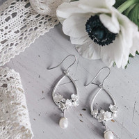 Lily of the valley bridal earrings - pearl drop earrings - sterling silver wedding earrings - bridal jewelry, nature jewelry, flower earring