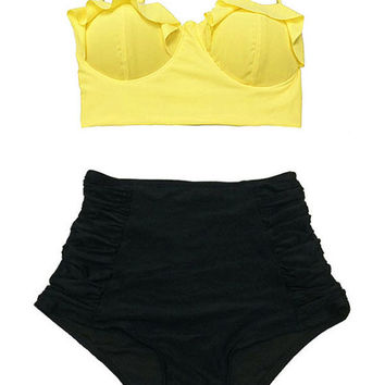 Yellow Midkini Top and Black Ruched Vintage Retro High Waisted Waist Swimsuit Bottom Handmade Bikini Swimsuit Bathing suit Swimwear set L XL