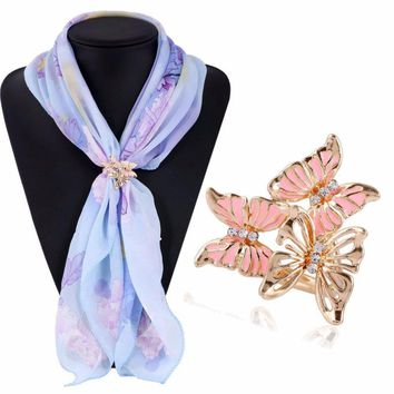Bling-world Tricyclic Three Butterfly Scarf Buckle Brooch Holder Scarf Jewelry je20