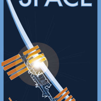 FLY TO SPACE vintage poster 24X36 dragon rider spacecraft SPACE EXPLORATION