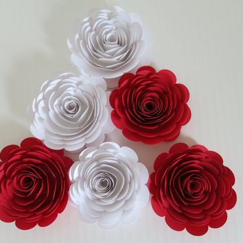 "large 3"" red & white roses, 6 paper flowers set, popular wedding colors, bridal shower decorations, wife valentines gift idea, love theme party decor"