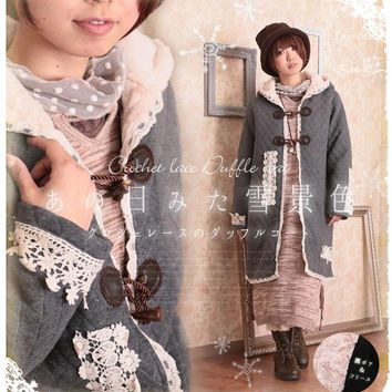 cotton lace up sweater long hooded cardigan wool thick sweet Japanese Mori girl hippie boho embroidery patchwork kimono coat