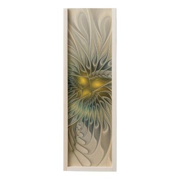 Golden Flower Fantasy, abstract Fractal Art Wooden Keepsake Box