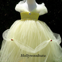 Beauty and the beast,Princess Belle inspired tutu dress perfect for birthday parties,dress up or Halloween fits sizes 2T-4T