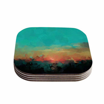 "Oriana Cordero ""Martinique"" Orange Teal Coasters (Set of 4)"