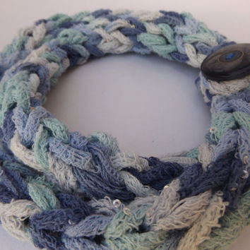 Cotton Knit Scarf, Pale Blue Scarf, Infinity Scarf, Loop Scarf Circle, Finger knit, Light weight Scarf Necklace Spring Scarflette Summer