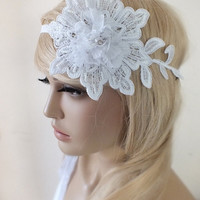 Bridal lace headpiece Hair comb White Beaded lace floral wedding hair piece bride hair comb