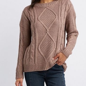 Diamond Knit Pullover Sweater | Charlotte Russe