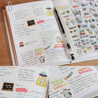2 Packs (12 Sheets) Kawaii DIY Planner Diary Deco Stickers Transparent Scrapbooking Calendar Sticker