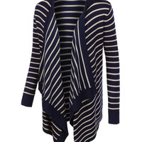 LE3NO Womens Long Sleeve Striped Open Front Knitted Cardigan (CLEARANCE)