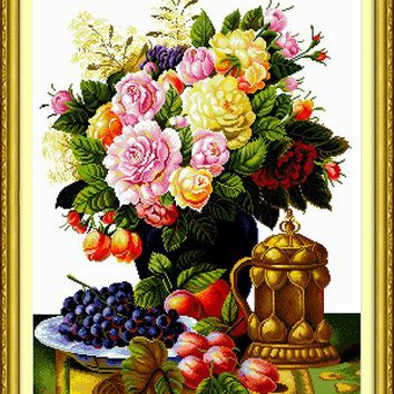 Fruit Peony Flower Arts CraftsCanvas DMC Cross Stitch Kits Accurate Printed Embroidery DIY Handmade Needle work Wall Home Decor