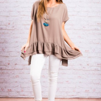 In Big Ruffle Top, Mocha