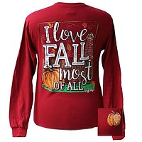 Bjaxx Lilly Paige I Love Fall Most of All Pumpkin Girlie Long Sleeve Girlie Bright T Shirt