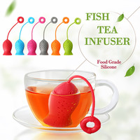 Cute Fish Shape Tea Infuser Silicone Strainers Filter Empty Tea Bags Diffuser