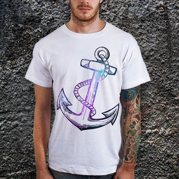 "Anchor Galaxy Men T-Shirt (Size Print 10""x12"" - Various Color Available )"
