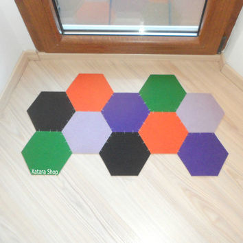 Geometric floor mat. Hexagon colorful rug. Honeycomb doormat. Modern decor