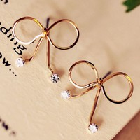 Golden Bow Tie On Diamond Earrings