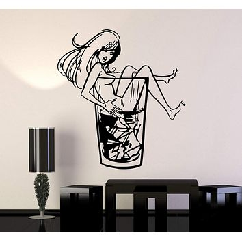 Wall Stickers Vinyl Decal Sexy Girl Whiskey Glass Party Night Club Unique Gift (ig726)