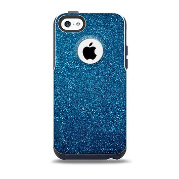 The Blue Sparkly Glitter Ultra Metallic Skin for the iPhone 5c OtterBox Commuter Case