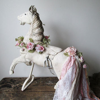 Large white horse statue shabby cottage chic wood sculpture pink tattered tail crown embellishments French antique decor anita spero design
