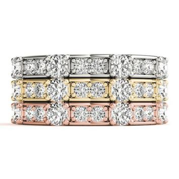 Stackables 1/2 Eternity Tri-Tone Gold 3-Band Set