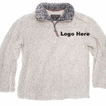 Greek Letter Embroidery True Grit Frosty Tipped Fleece- Putty